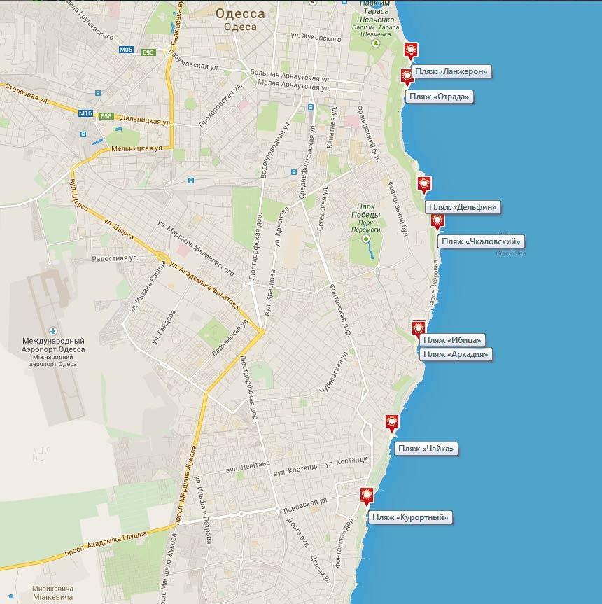 месторасположение пляжей